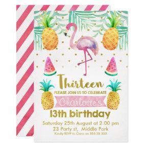 Watercolor Flamingo 13th Birthday Invitation