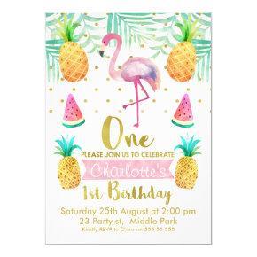 Watercolor Flamingo 1st Birthday Invitations