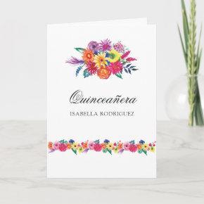 Watercolor Floral Fiesta Quinceañera Photo Invitation
