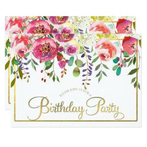 Watercolor Floral Flowers Modern Birthday Party Invitation