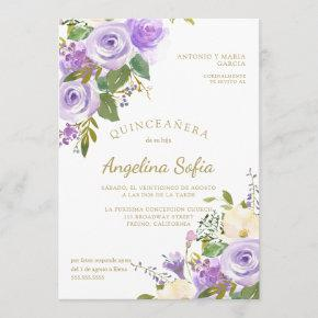 Watercolor Floral Gold Calligraphy Quinceanera Invitation