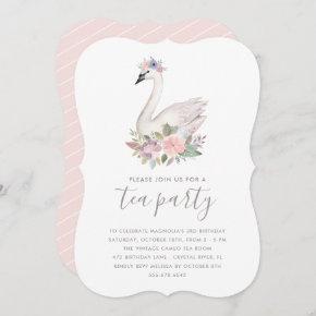 Watercolor Floral Swan Princess Birthday Tea Party Invitation