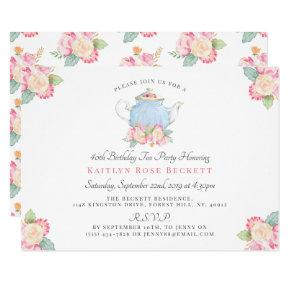 Watercolor Floral Tea Party | Birthday Invitation