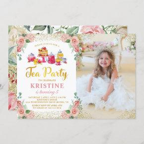 Watercolor Floral Tea Party Girls Birthday Photo Invitation