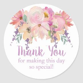 Watercolor Floral Thank You Birthday Favor Classic Round Sticker