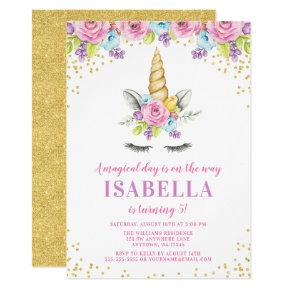Watercolor Floral Unicorn Birthday Invitations