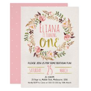 Watercolor Floral Wreath 1st Birthday Invitation