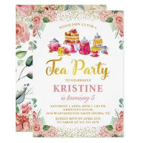 Watercolor Flower Garden Tea Party Girls Birthday Invitation
