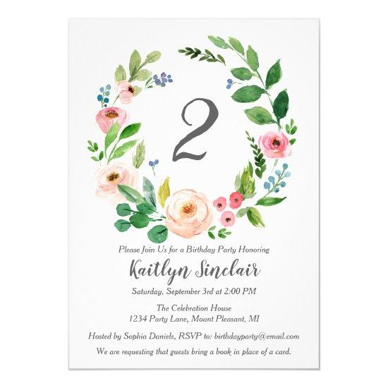 Watercolor Flowers Birthday Party Invitation