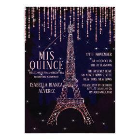 Watercolor Glitter Paris Eiffel Tower Quinceañera Invitation