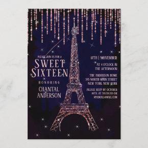 Watercolor Glitter Paris Eiffel Tower Sweet 16 Invitation
