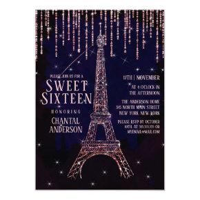 Watercolor Glitter Paris Eiffel Tower Sweet 16 Invitation