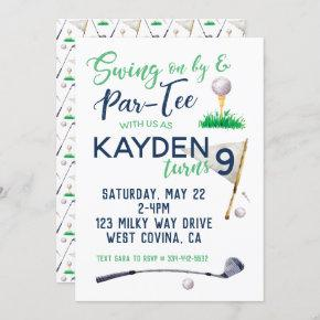 Watercolor Golf Birthday Invitation