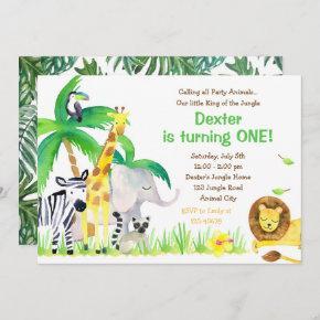 Watercolor Jungle Animals Invitation (Lion)