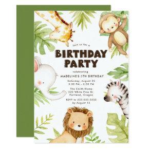 Watercolor Jungle Safari Animals Birthday Party Invitation