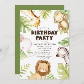 Watercolor Jungle Safari Animals Birthday Party Invitation