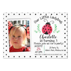 Watercolor Ladybug Birthday invitation