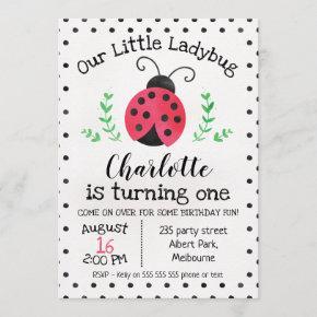 Watercolor Ladybug Birthday Invitation