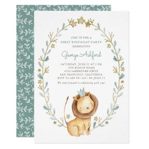 Watercolor Lion Prince First Birthday Party Invitations