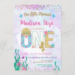 Watercolor Mermaid First Birthday Invitation