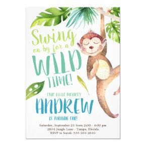 Watercolor Monkey Birthday Party Invitation