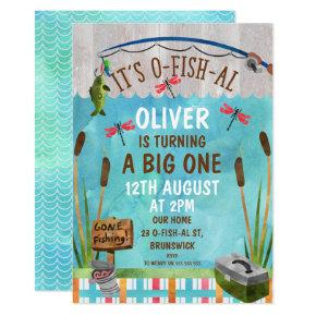 Watercolor O-Fish_Al 1st Birthday Party Invitation