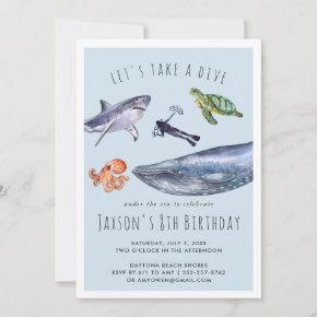 Watercolor Ocean   Birthday Party Invitation