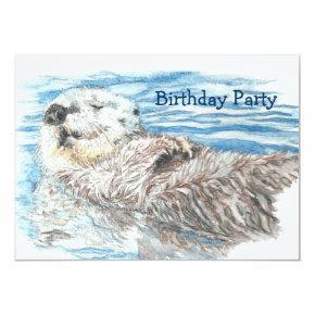 Watercolor Otter Animal BIRTHDAY Fun PARTY Invite