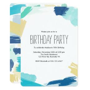 Watercolor Paint Strokes Birthday Party Invitation