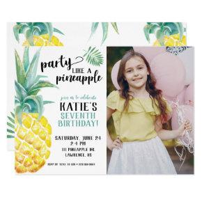Watercolor Party Like A Pineapple Birthday Invitation