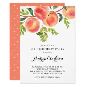Watercolor Peaches Summer Birthday Party Invitation