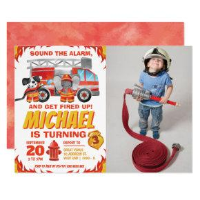 Watercolor Photo Fire Truck Birthday Party Invitation