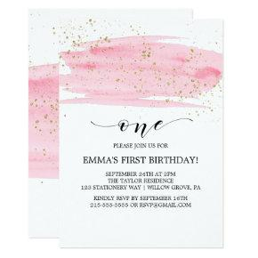 Watercolor Pink Blush & Gold Sparkle 1st Birthday Invitation