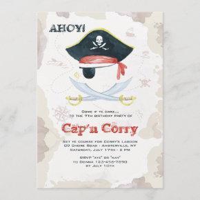 Watercolor Pirate Invitation