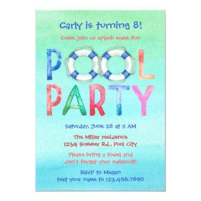 Watercolor Pool Party Birthday Invitations
