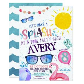 Watercolor Pool Party Invitations