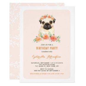 Watercolor Pug Peach Floral Birthday Invitation
