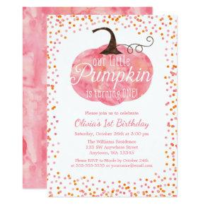 Watercolor Pumpkin Confetti Girl First Birthday Invitation
