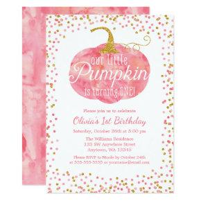 Watercolor Pumpkin Glitter Girl First Birthday Invitation