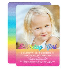 Watercolor Rainbow Birthday Party Invitations