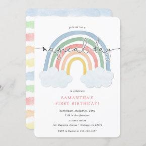 Watercolor rainbow pastel girl 1st birthday party invitation
