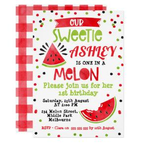 Watercolor Red One In A Melon Birthday Invitation