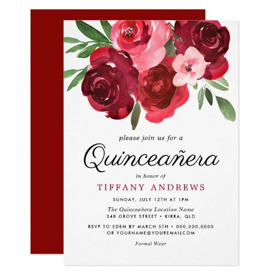 watercolor romantic red roses quinceanera invite candied clouds