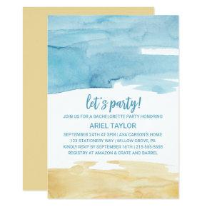 Watercolor Sand and Sea Let's Party Invitation