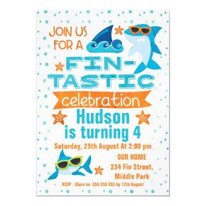 Watercolor Shark Fin-tastic Birthday Invitation