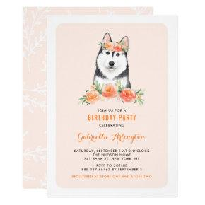 Watercolor Siberian Husky Peach Floral Birthday Invitation