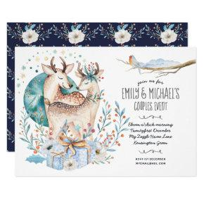 Watercolor STAG DEER Couples Event Blue Flowers Invitation