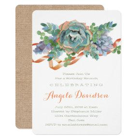 Watercolor Succulent Birthday Brunch Party Invitation