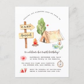 Watercolor Summer Camping Girls Birthday Party Invitation Post