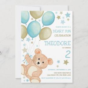 Watercolor Teddy Bear Blue Gold Boys Birthday Invitation